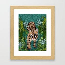 ocelot jungle green Framed Art Print