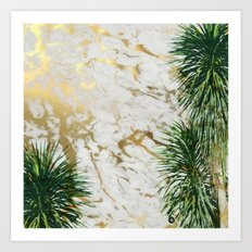 gold marble texture with palm trees Art Print