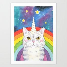 Magical Caticorn Rainbow Galaxy Art Print