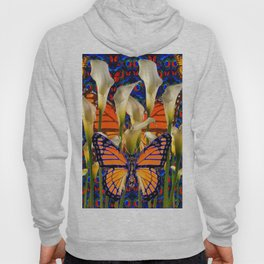 DECORATIVE WHITE CALLA LILIES & MONARCH BUTTERFLY GARDEN COLLAGE Hoody
