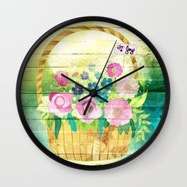 Floral Basket Wall Clock