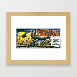 Revenge of the Creature, vintage horror movie poster, landscape Framed Art Print