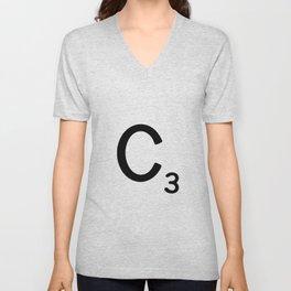 Letter C - Custom Scrabble Letter Wall Art - Scrabble C Unisex V-Neck