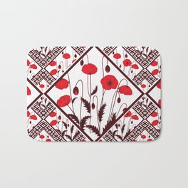 Bright floral pattern on a white background with decorative elements. Bath Mat