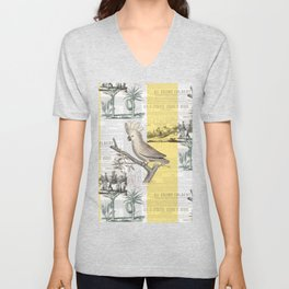 Vintage Tropical Cockatoo Pattern Unisex V-Neck