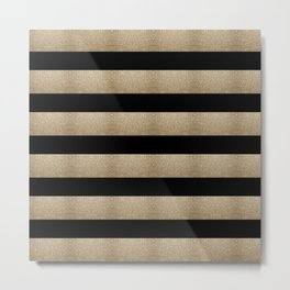 preppy contemporary minimalist great gatsby champagne black gold stripes Metal Print