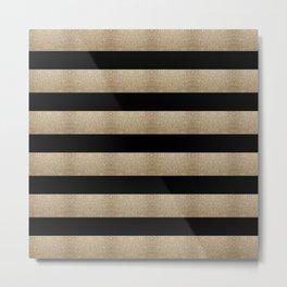preppy contemporary minimalist great gatsby champagne black gold stripes Metal Print