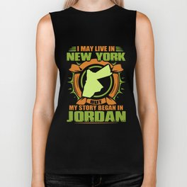 i may live in new york but my stoamericary began in picture america new york Biker Tank