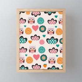 Owls and hearts Framed Mini Art Print
