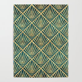 Stylish geometric diamond palm art deco inspired Poster