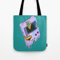 gameboy Tote Bags featuring Gameboy Melt by KING BOZU