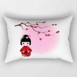 Japanese kokeshi doll at sakura blossoms Rectangular Pillow