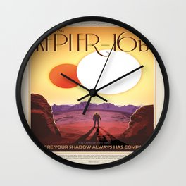 NASA Space Travel Retro Poster Kepler- 16B Wall Clock