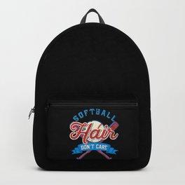 Funny Softball Hair Don't Care Baseball Sport Gift Backpack
