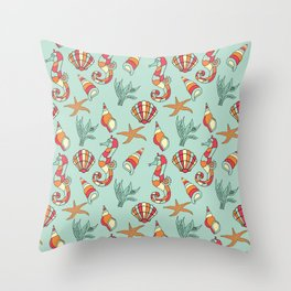 Ocean Seashell & Seahorses Seamless Pattern Bathroom \ Bedroom Decor Throw Pillow