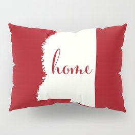 Mississippi is Home - White on Red Pillow Sham