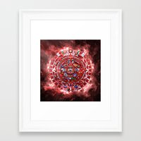 calender Framed Art Prints featuring Aztec Calender by MacDonald Creative Studios