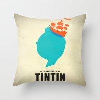 tintin Throw Pillows featuring THE ADVENTURES OF TINTIN by Calvin Wu