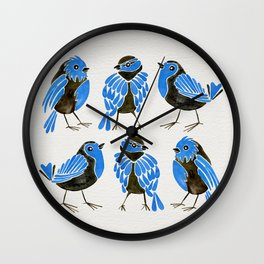 Blue Finches Wall Clock