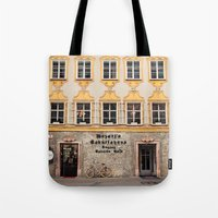 mozart Tote Bags featuring Mozart Residence  by Laura Ruth