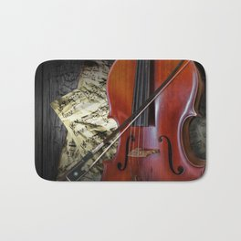 Cello with Bow a Stringed Instrument with Classical Sheet Music Bath Mat