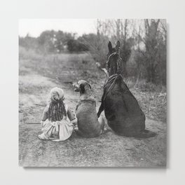 A Girl, Her Dog, and Her Horse wonderful black and white photograph - photography Metal Print