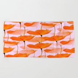 Orange Poppies On A Pink Background #decor #society6 #buyart Beach Towel