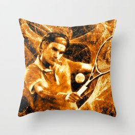 Roger Federer Clay Throw Pillow