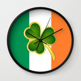 Flag of Ireland With Clover Wall Clock