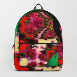 GREEN PEACOCK & RED-CREAM COLOR GEOMETRIC ART Backpack