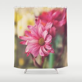 Pink Daisy Dancer Fine Art Floral Photography Shower Curtain