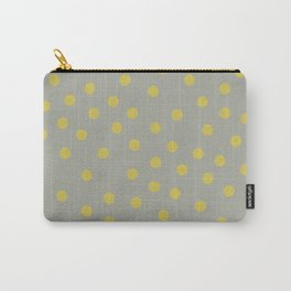 Simply Dots Mod Yellow on Retro Gray Carry-All Pouch