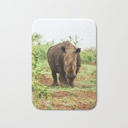 Portrait of white rhino in an open field in South Africa Bath Mat