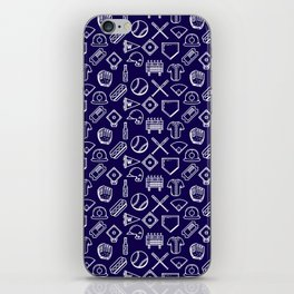 Baseball Print Navy Blue and White iPhone Skin