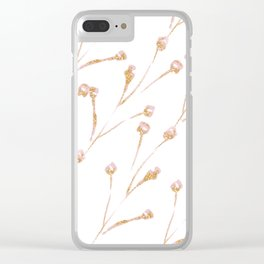Delicate Blossom Pink + Gold Glitter Clear iPhone Case