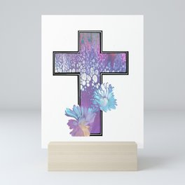 Fluid Flower Cross Mini Art Print