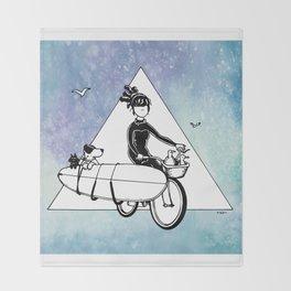 """ Dream. Bike. Surf "" Throw Blanket"