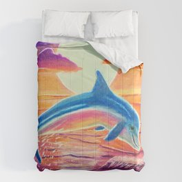 Dolphin at sunset Comforters