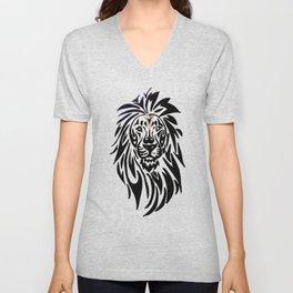 Lion face black and white Unisex V-Neck