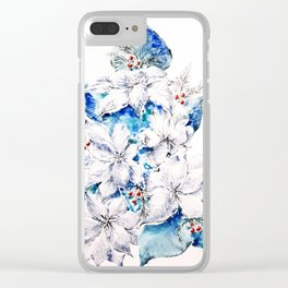 Blue Christmas Clear iPhone Case