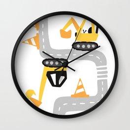 Excavator road work Wall Clock