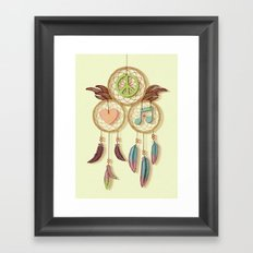 Peace, Love and Music Framed Art Print
