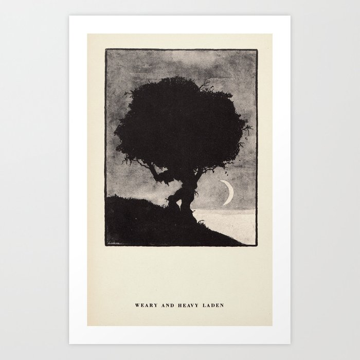 """""""Weary and Heavy Laden"""" from """"Trees at Night"""" by Art Young Art Print"""