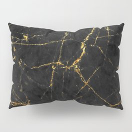 Gold Glitter and Black marble Pillow Sham