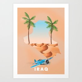 Iraq Illustrated travel poster print. Art Print