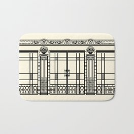 ART DECO, ART NOUVEAU IRONWORK: Black and Cream Bath Mat