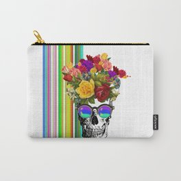 Colorful Cool Hip Skull with flowers Carry-All Pouch