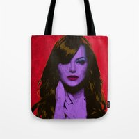emma stone Tote Bags featuring Emma Stone by Bolin Cradley Art