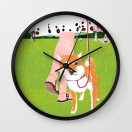 Shiba inu in Central Park Wall Clock