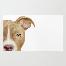 Pitbull light brown Dog illustration original painting print Rug